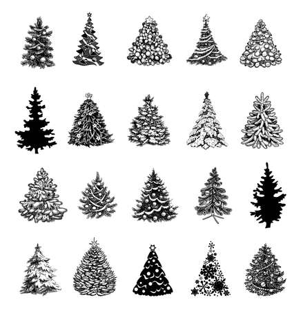 Collection of beautiful ornamental Christmas Trees to create holiday cards, backgrounds and decoration.