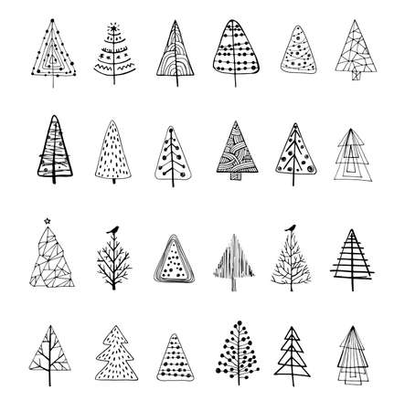 Collection of beautiful doodle Christmas Trees to create holiday cards, backgrounds and decoration. Иллюстрация
