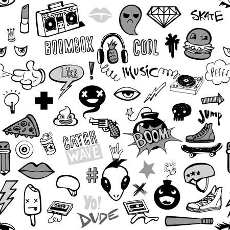 Seamless pattern with Hipsters teens doodles  イラスト・ベクター素材