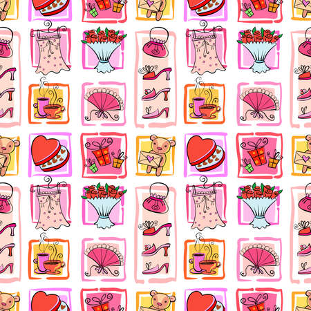 Valentines seamless background different nice things for the girl, hand drawn style. Иллюстрация