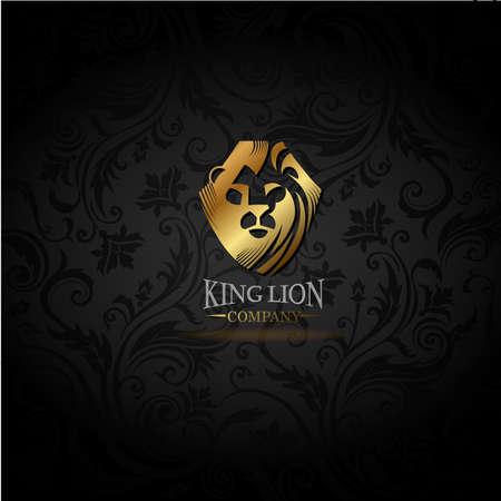 Emblem with golden Lion Vektorové ilustrace