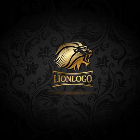 Emblema con León dorado Ilustración de vector