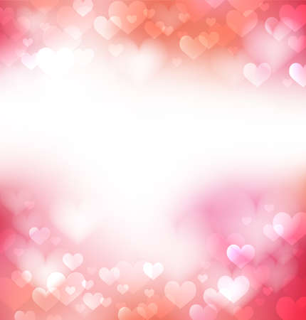 Pink gentle background with defocused hearts, light and pure background Illustration