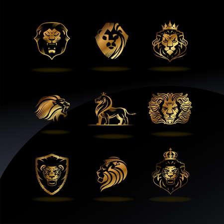 Emblems with golden Lions Illustration