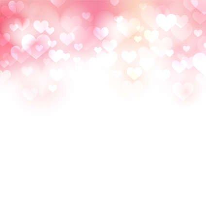 Pink gentle background with defocused hearts, light and pure background Иллюстрация