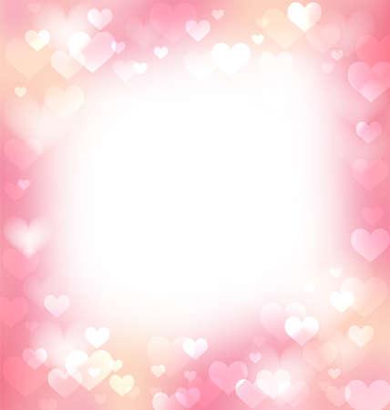 Rosa sanfter Rahmen, Hintergrund mit defokussierten Herzen und Licht, rein und weich Vektorgrafik