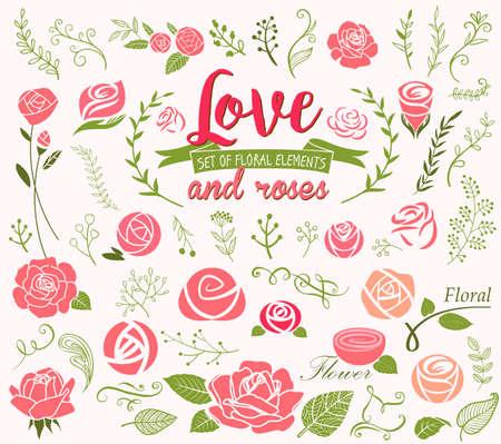 Elementi di design di amore e rose