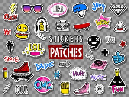 Hipsters Teens Sticker und Patches Vektorgrafik