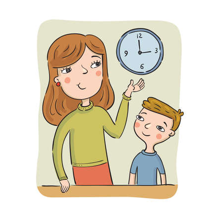 Mother teaches the son to learn the time showing on clocks, vector illustration Иллюстрация