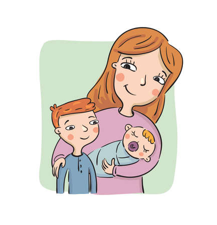 Mother shows to the eldest son the newborn child, vector illustration Illustration
