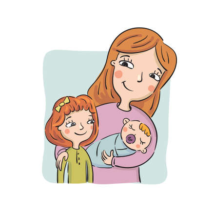 Mother shows to the eldest daughter the newborn child, vector illustration