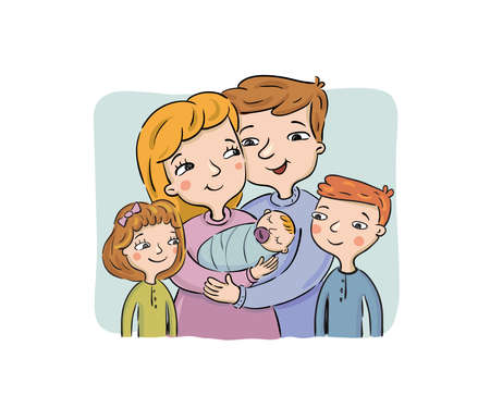 Happy parents keep the newborn in embraces. The older brother and the sister stand nearby. The family meets the third child, vector illustration
