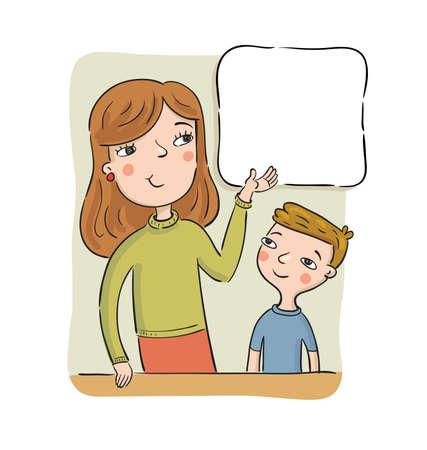 La madre o l'insegnante mostra al ragazzo sul poster con le informazioni - spazio vuoto dove è possibile posizionare il testo o l'immagine