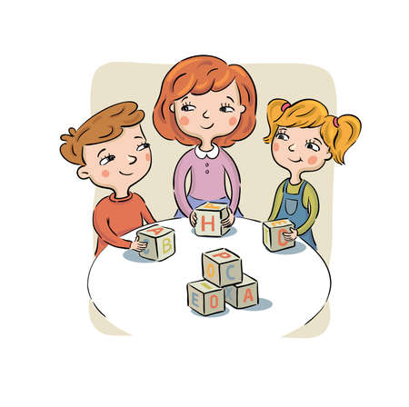 Children at a table play toy cubes
