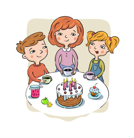 Childrens Birthday party - children sit at a table with cake and candles and other entertainments. Isolated vector Illustration