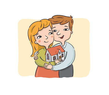 Happy young couple holds the new house. Real estate concept, vector illustration