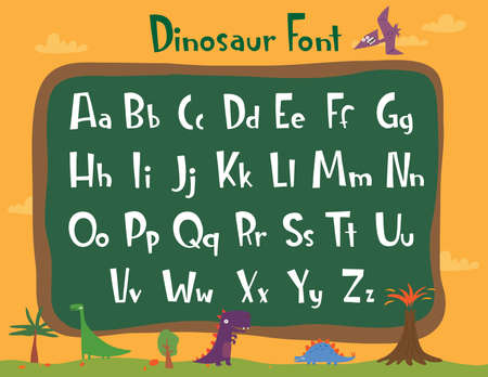 Beautiful cartoon font - dinosaur for any design