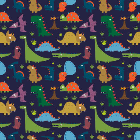 Seamless pattern with Cartoon funny dinosaurs
