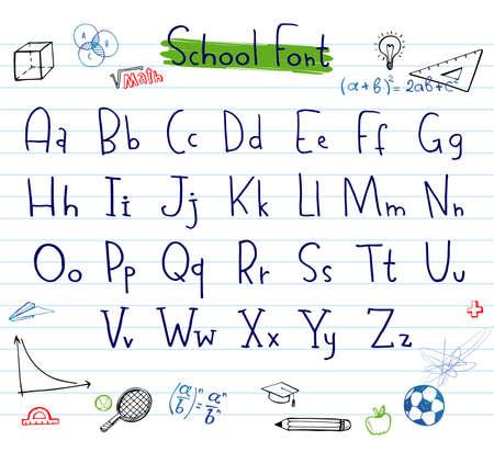 Doodle hand written alphabet, unique font Illustration