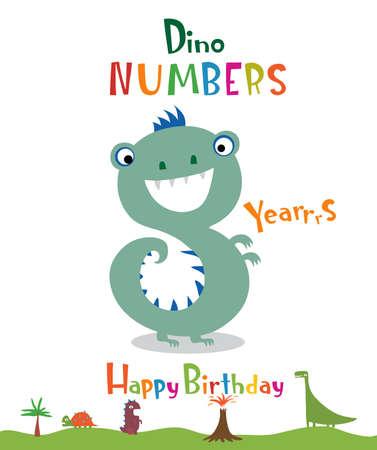 Number 8 in the form of a dinosaur Ilustração