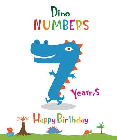 Number 7 in the form of a dinosaur Ilustração