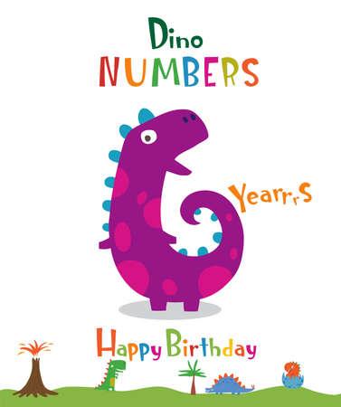 Number 6 in the form of a dinosaur Ilustração
