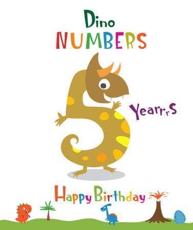 Number 5 in the form of a dinosaur Ilustração