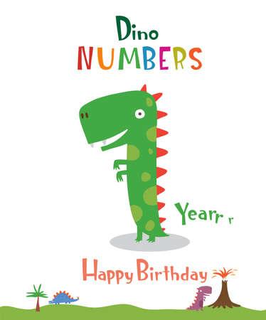Number 1 in the form of a dinosaur Ilustração