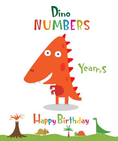Number 4 in the form of a dinosaur Ilustração