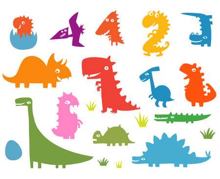Cartoon funny silhouettes of dinosaurs