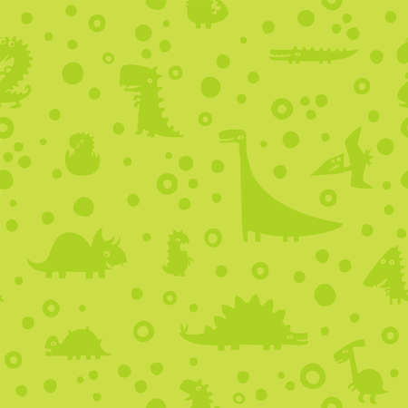 Seamless green pattern with Cartoon funny dinosaurs