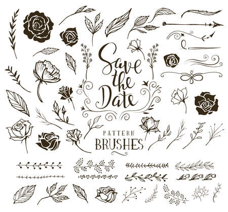 Collection of design elements and brushes for wedding invitation Иллюстрация