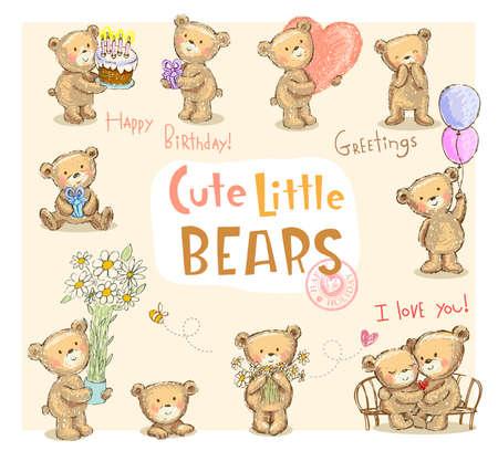 Collection of cute cartoon teddy bears, vector illustration