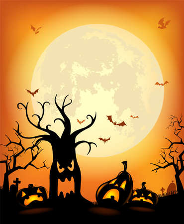 Halloween background with scary tree and pumpkins against the full moon for invitation or poster