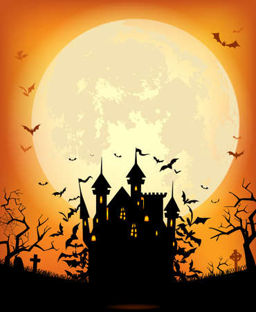 Halloween background with scary Dracula castle