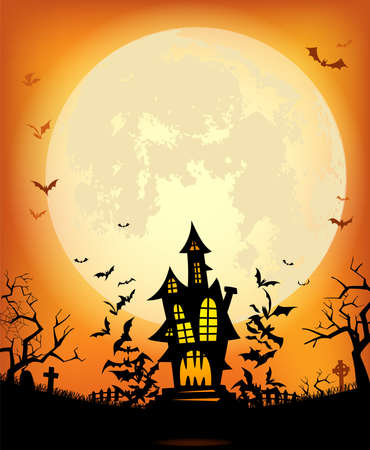 Halloween background with the frightening bewitched house and various silhouettes of flying bats against a full moon