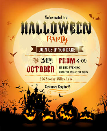 Halloween party invitation with scary pumpkins on bright background of a full moon.
