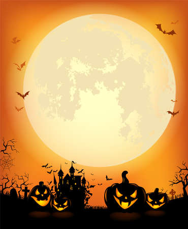Halloween background with the frightening bewitched house and scary pumpkins against a full moon