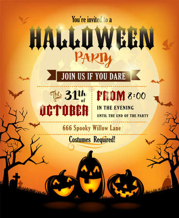 Halloween invitation or poster with cheerful pumpkins against the full moon