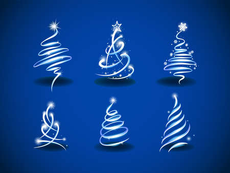 Collection of modern abstract Christmas trees to create holiday cards, backgrounds, ornaments, decoration.
