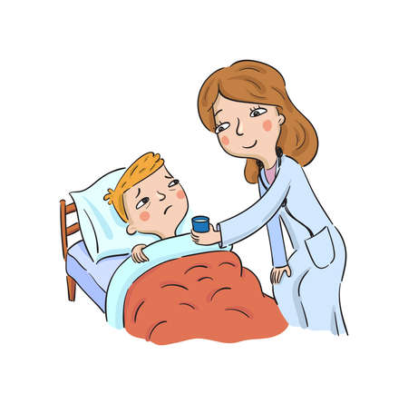 Doctor gives medicine to a sick boy  イラスト・ベクター素材
