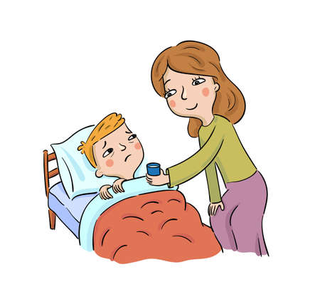 Mother gives medicine to her sick son