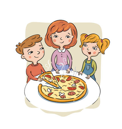Children sit at a table and eat pizza. Isolated vector Illustration Фото со стока - 138277838