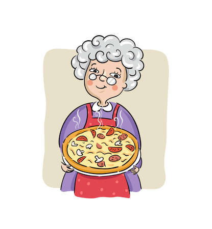 Grandma with her best pizza