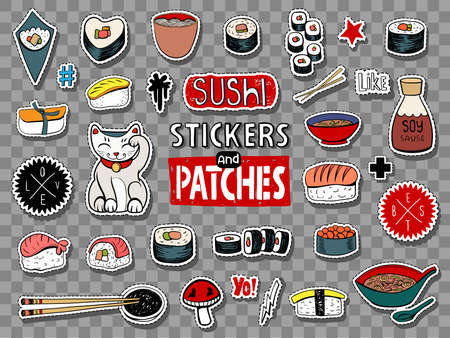 Vector set of teens stickers and patches in doodle style. Japanese food, sushi, rolls, soups and noodles.