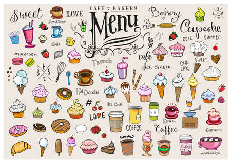 Drawings of various objects for cafes or bakery, inscriptions and symbols for menu creation Иллюстрация