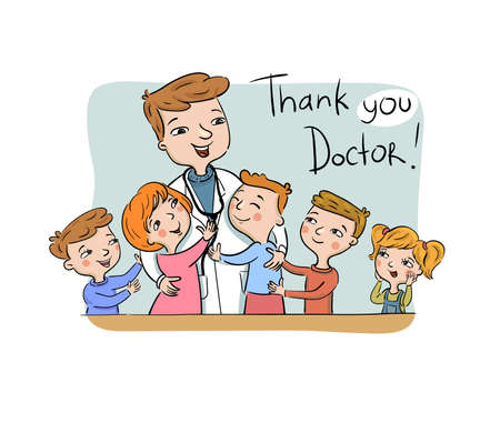 Thank you Doctor greeting card - Paediatric doctor with his happy patients, vector illustration.