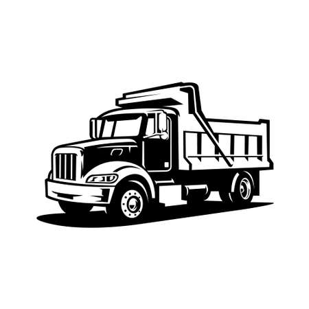 Silhouette dump truck vector isolated. Tipper truck icon vector