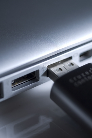 usb2: plugging a USB stick Stock Photo