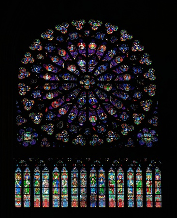 ile de la cite: south rose window of Notre Dame Editorial